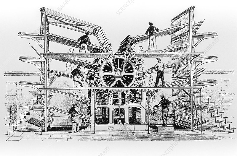 Engraving of the Hoe Rotary Press
