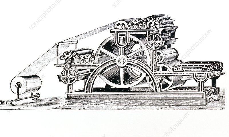 Engraving of the Bullock Rotary Press of 1865
