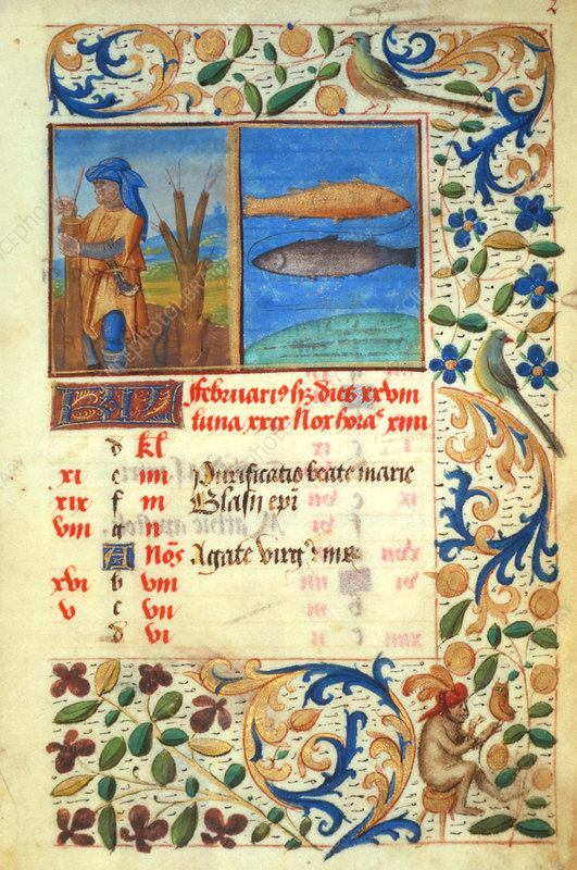 Illuminated manuscript page from a calendar