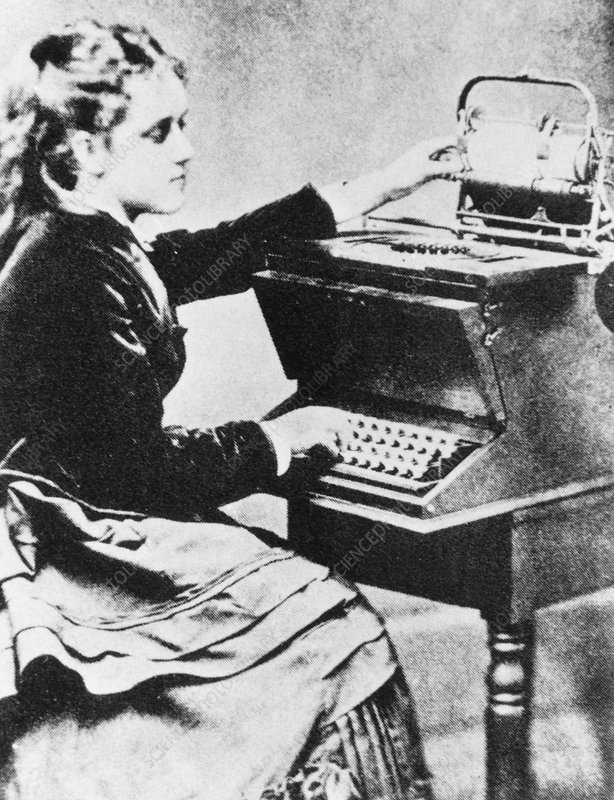 Early typewriter used by its inventor's daughter