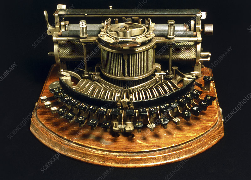 View of an early typewriter