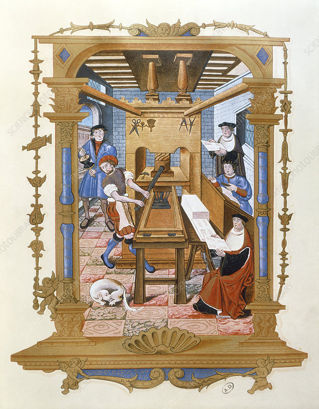 Historical artwork of 16th century printing press