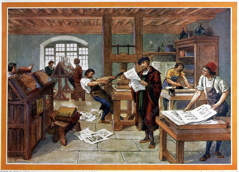 Johann Gutenberg's printing press, 1450s - Stock Image - V290/0060 - Science Photo Library