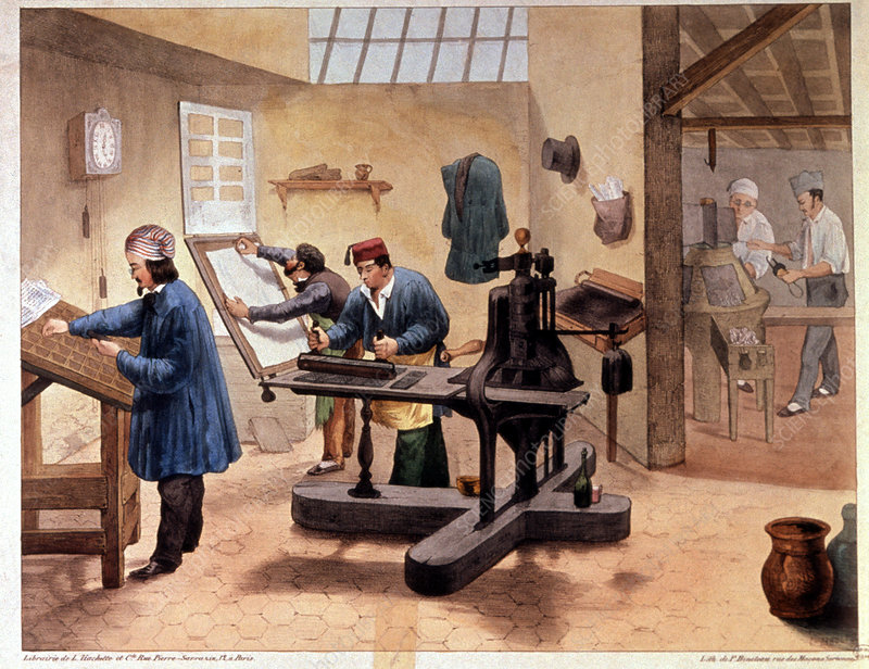 Printing press, 19th century artwork