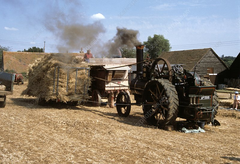 Traction Engine with threshing machine