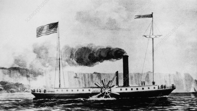 Illustration of first useful steam boat