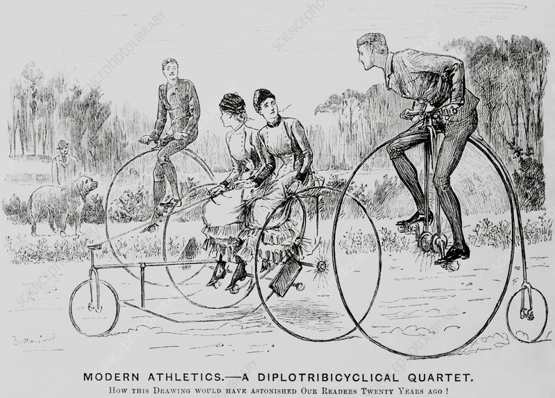 Engraving of a two bicycles and a tricycle in 1882