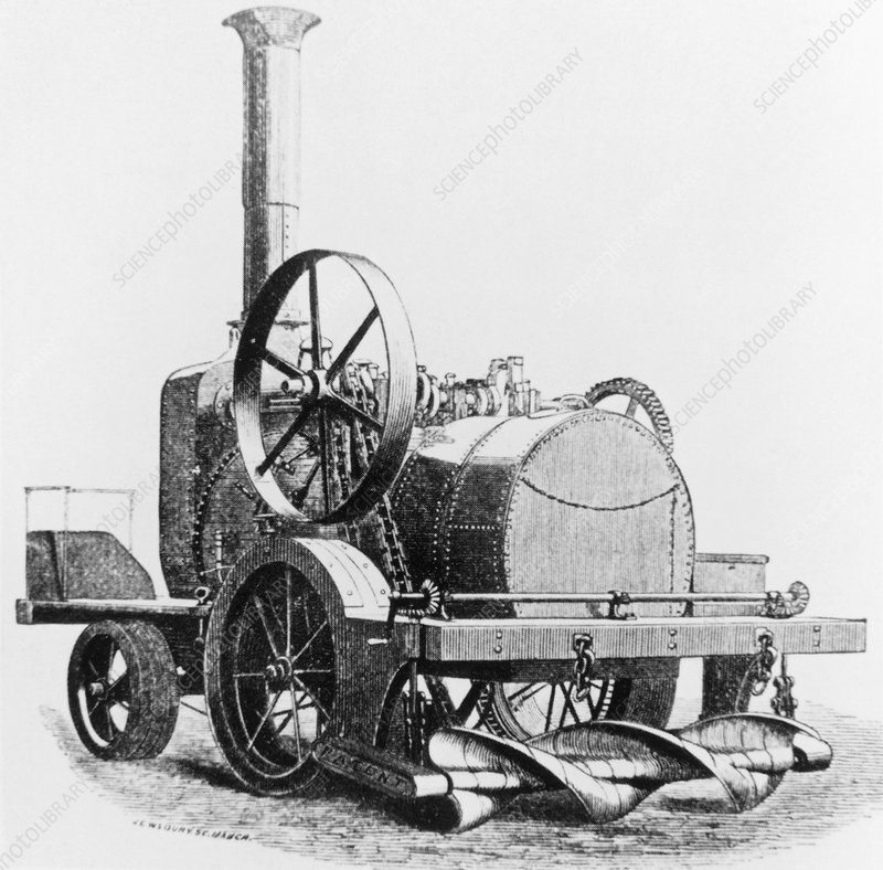Engraving of a steam-driven traction engine