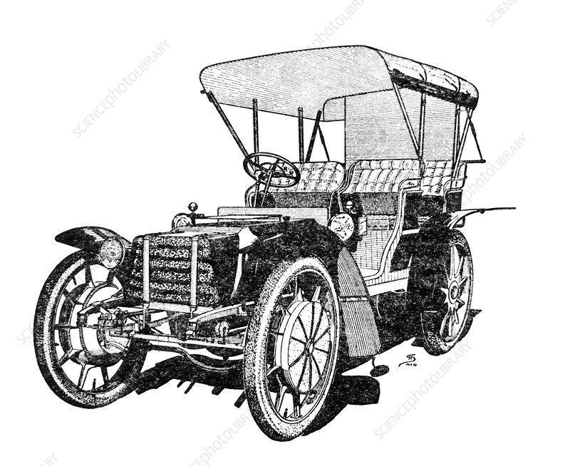 Engraving of the Lohner-Porsche car of 1901