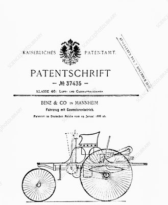 First page of Benz's automobile patent