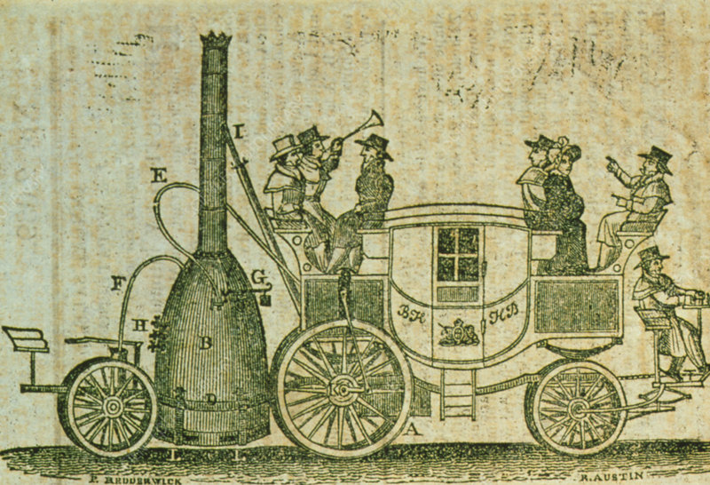 Historical artwork of a steam carriage