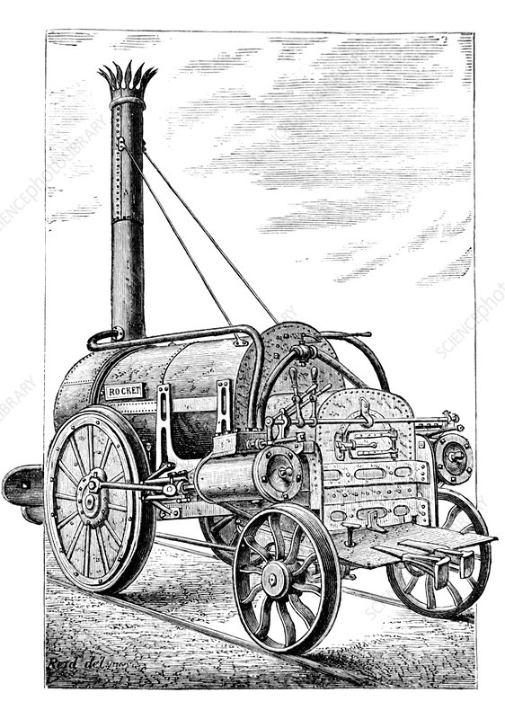 Engraving of the Rocket steam locomotive