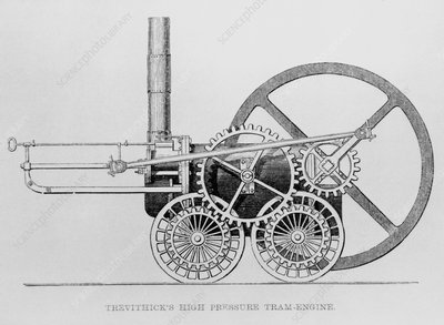 Trevithick's high-pressure steam engine, 1804