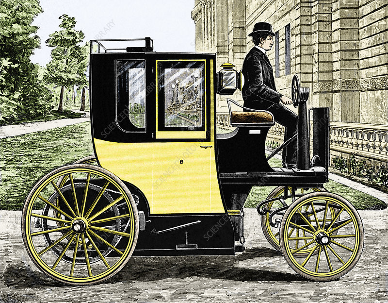 Early electric taxi cab