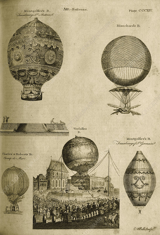 1784 engraving of hot air balloons