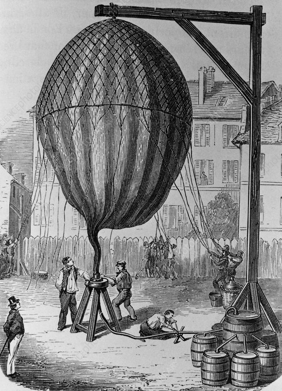 Filling of a hydrogen balloon, engraving