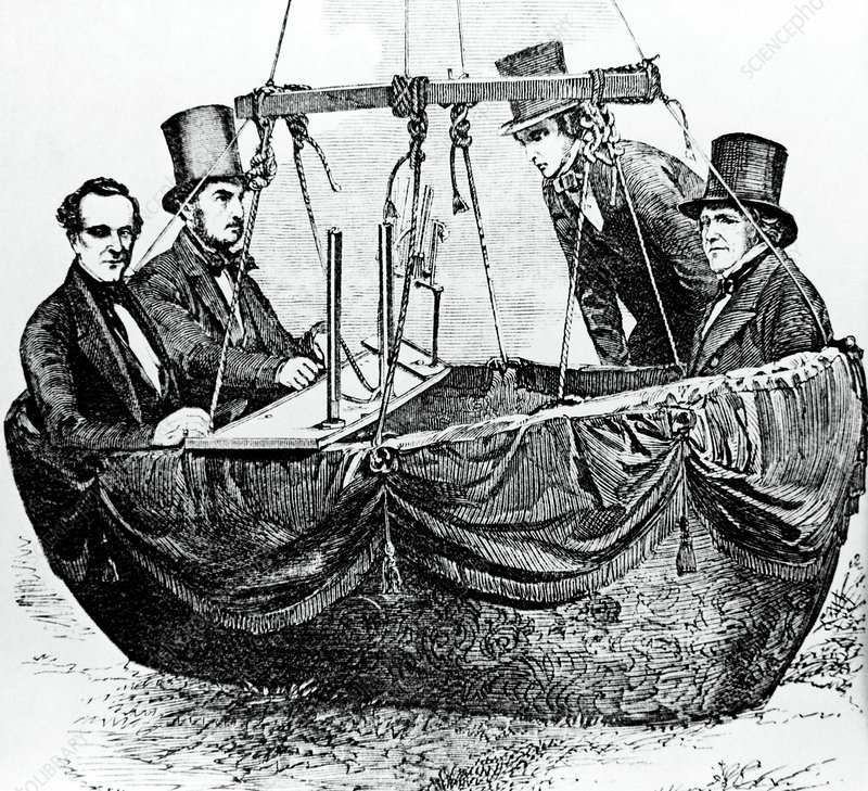 Experimentalists in a scientific balloon in 1852