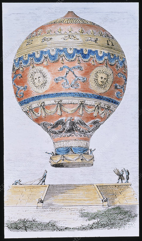 Artwork of Montgolfiers' balloon ascent