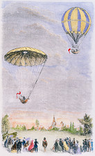 Garnerin's first recorded parachute descent, 1797.