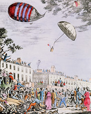 The first parachute descent in the UK, 1802