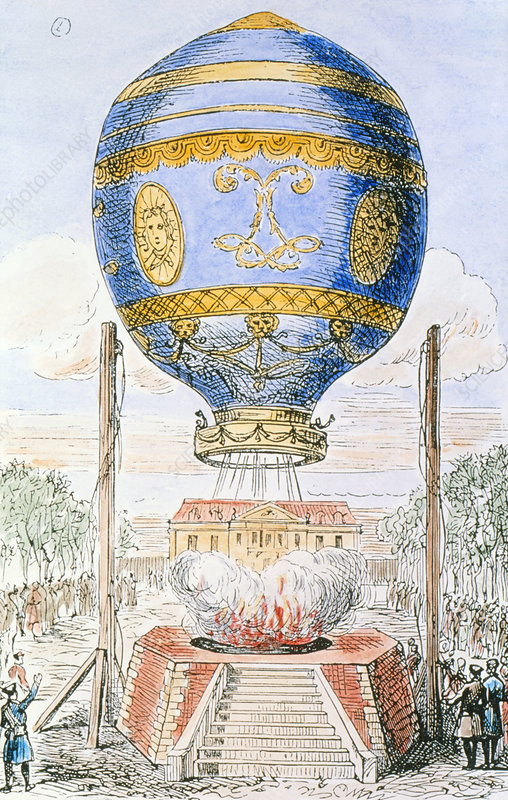 Coloured engraving of Montgolfiers' balloon ascent