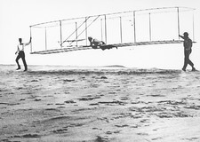 Wright brothers' glider test