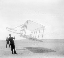 Wright brothers testing a glider in 1901