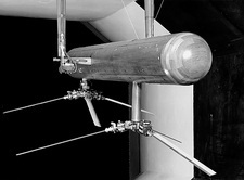 Helicopter model in a wind tunnel, 1957