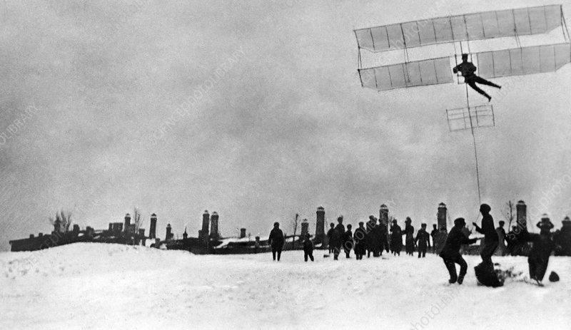 Tupolev and his glider, 1910