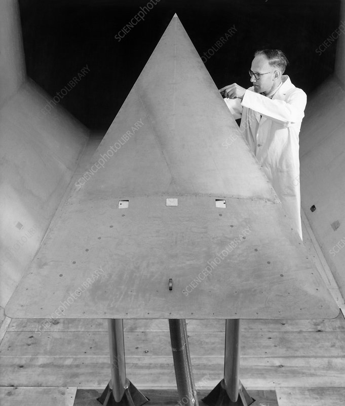 Delta wing in a wind tunnel, 1964