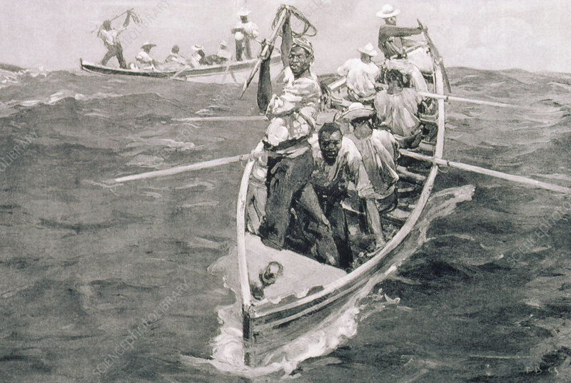 Illustration of manned whaling long-boats