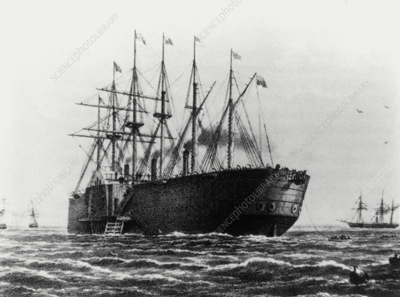 Painting of the Great Eastern laying cable