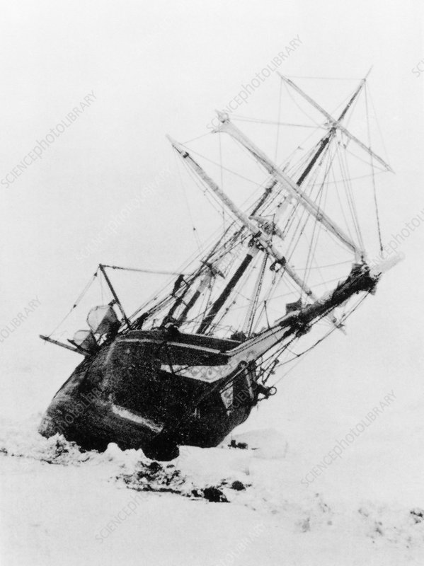 Shackleton's ship trapped in Antarctic ice, 1915