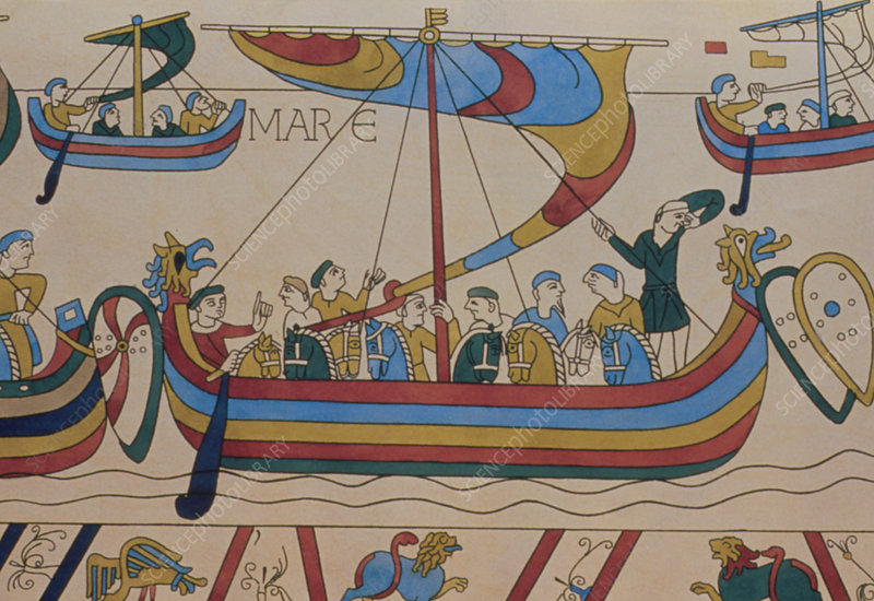 Bayeux Tapestry showing Norman ships in use