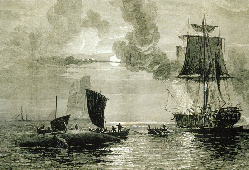 Ship boiling blubber beside a dead whale