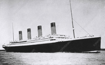 Liner Titanic leaving on her first and last voyage