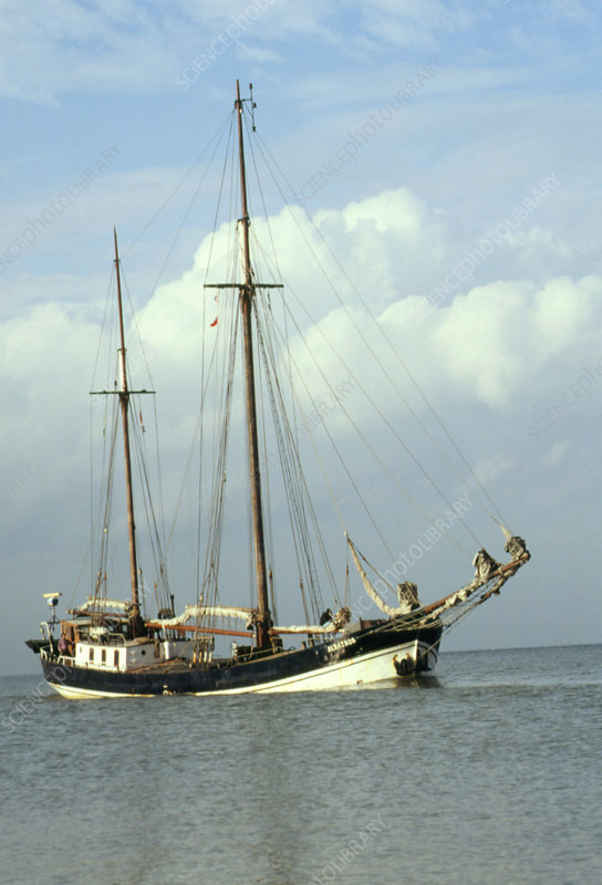 Restored commercial cargo sailing ship