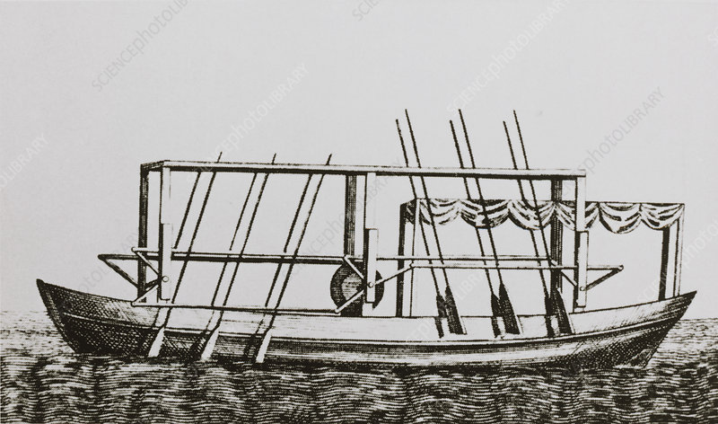 Engraving of John Fitch's steam boat of 1787