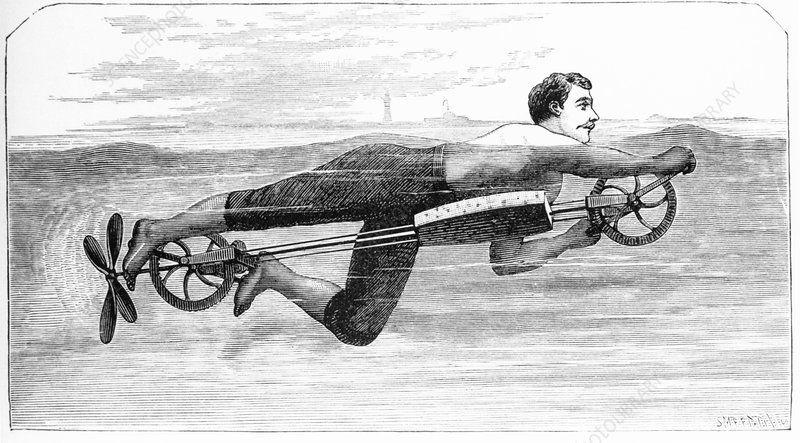 Historical artwork of a swimming machine