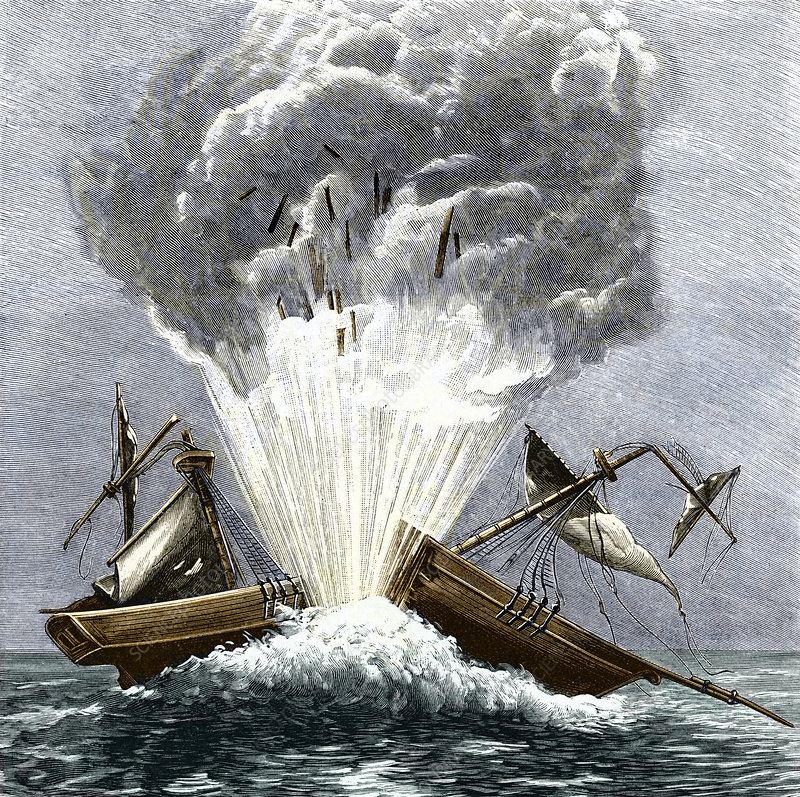 Detonation of the first torpedo, 1805