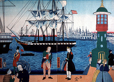 19th century port, Japanese artwork