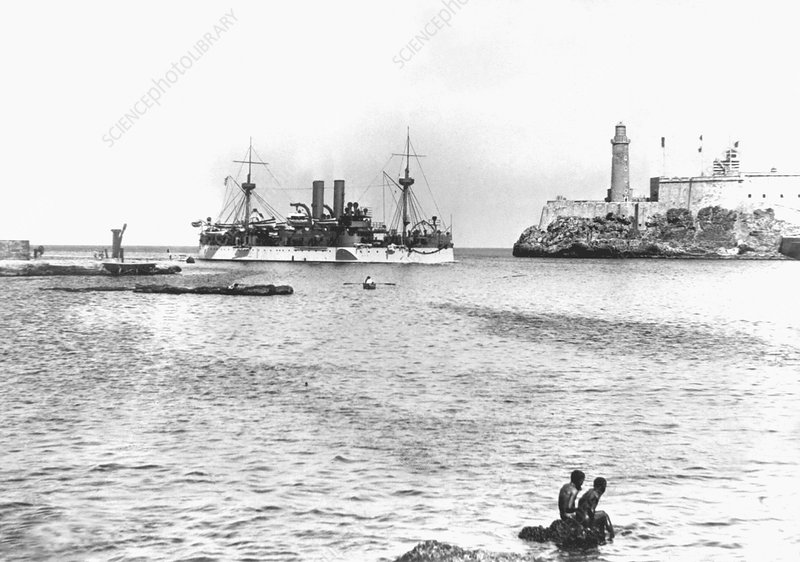 USS Maine entering Havana Harbour, 1898