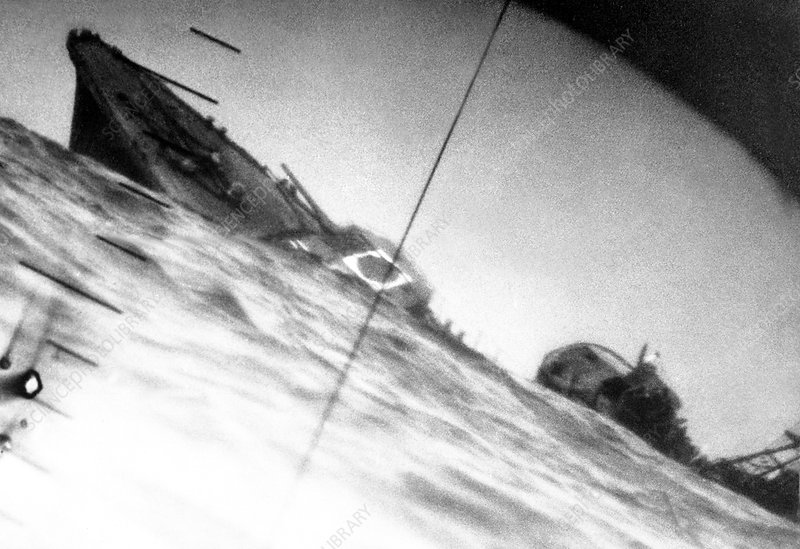 Torpedoed Japanese WWII destroyer, 1942