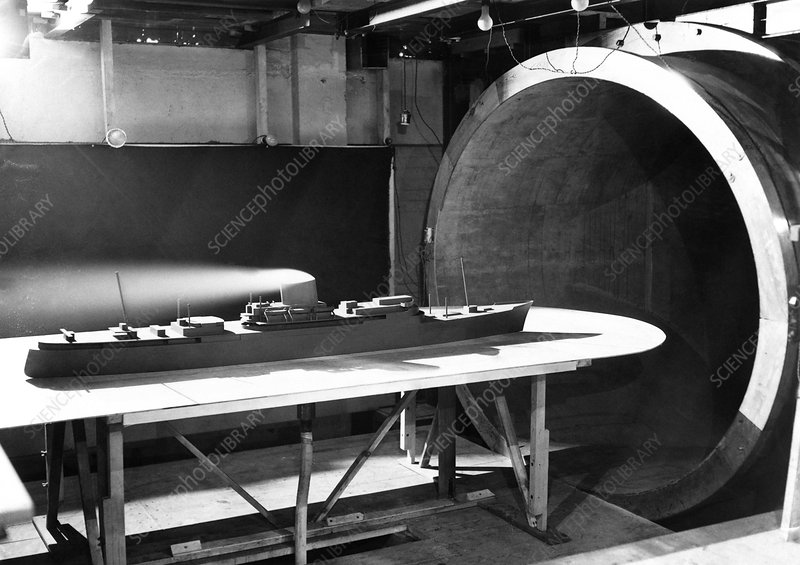 Wind tunnel ship testing, 1952