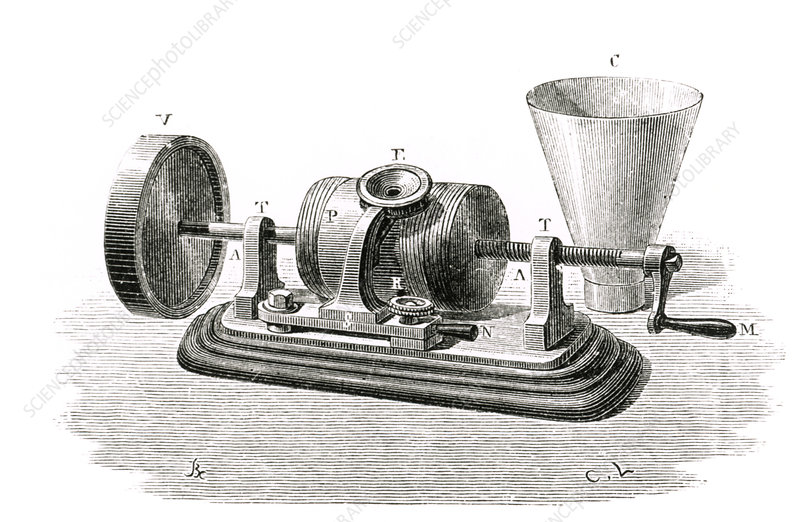 Engraving of an Edison cylindrical phonograph.