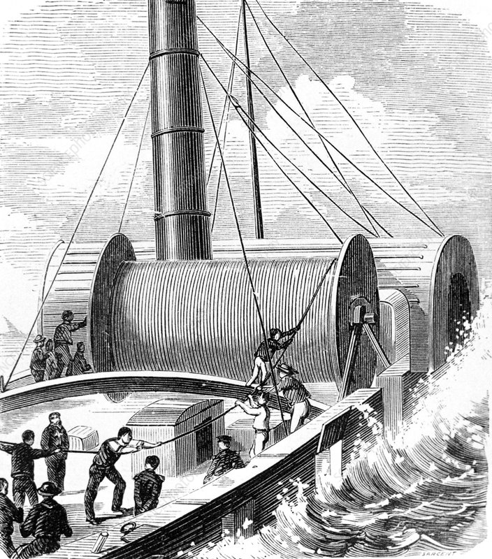 Laying the first Dover-Calais telegraph cable.