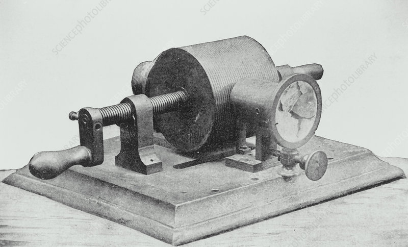 Edison's first cylindrical phonograph.
