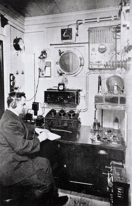 Wireless operator on a ship in the early 20th C