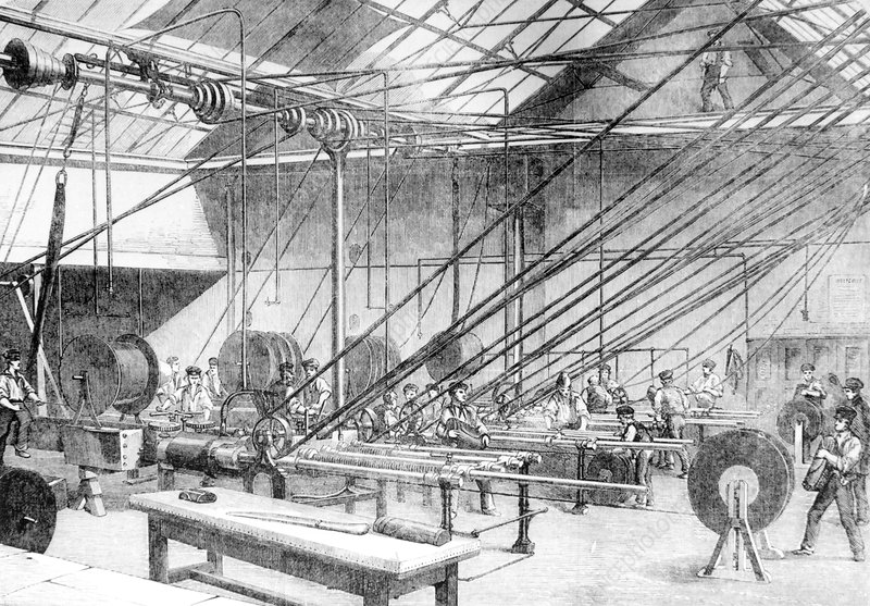 Engraving of telegraph cable manufacture, 1857.
