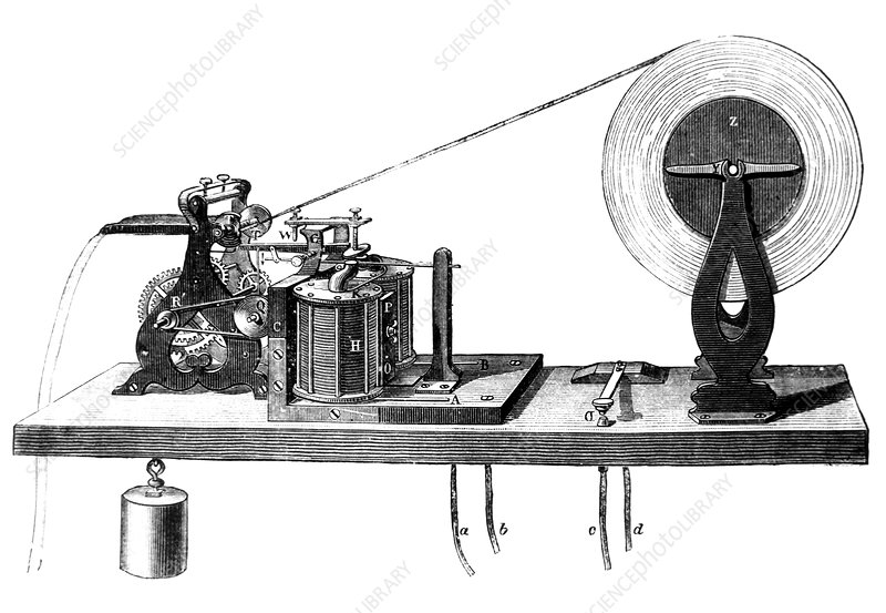 Engraving of a morse code receiving machine